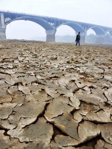12月15日,长沙市橘子洲附近湘江河床大面积裸露。本报记者 郭立亮 摄