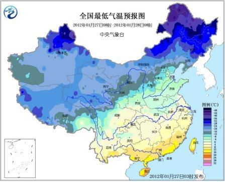 全国最低气温预报图。图据中央气象台网站