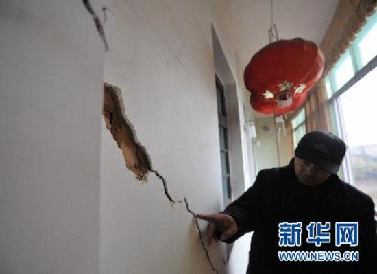 益阳市岳家桥镇一处因发生岩溶塌陷地质灾害而受损的民房(2月26日摄)。 新华社记者 龙弘涛 摄