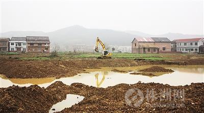 """24日下午,在被挖得如同河道的农田上,仍有村民开着挖机延续自己的""""黄金梦"""" 见习记者 熊威 摄"""