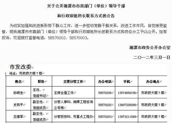 湘潭在线发布《关于公开湘潭市市直部门(单位)领导干部和行政审批科长联系方式的公告》
