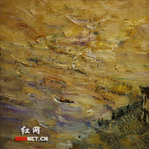 《湘江洪峰》(布面油画) 彭关作