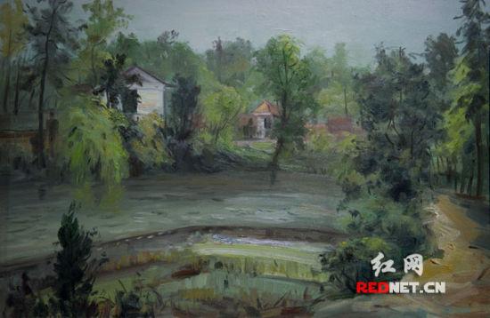 《彩陶湖畔》(布面油画) 周彪作