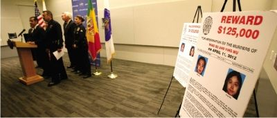 5月18日美国洛杉矶警方宣布抓获两名枪杀南加州大学中国留学生嫌犯的新闻发布会现场。图/新华社