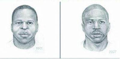 警方发布的两名嫌疑人素描。