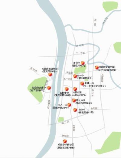 长沙城区12个考点分布。 ■制图/杨诚