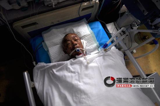 5月25日,长沙市中心医院,熊建波安静地躺在病床上已经没有了知觉。图/潇湘晨报滚动新闻实习记者 赵赫廷