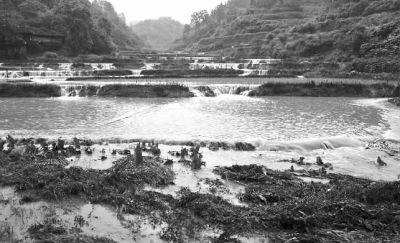 6月10日上午,怀化市洪江区山区,大片农田被洪水冲毁。 记者 童迪 摄