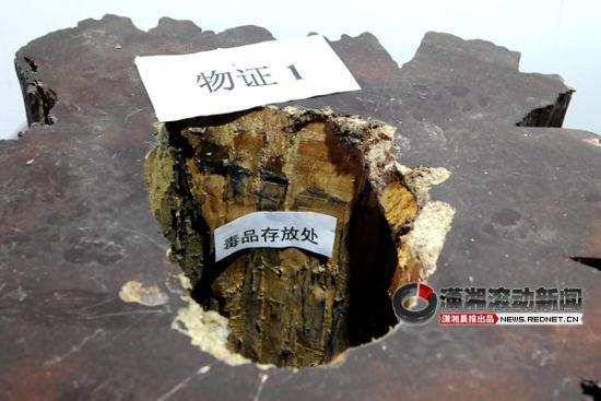 (警方缴获的贩毒人员用来藏毒的根雕树墩茶具。图/潇湘晨报滚动新闻记者 巩如泉)