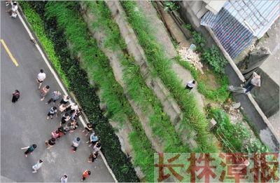 6月14日,株洲市芦淞区锦绣江山4栋,一位男子裹着毛毯坠楼。附近的市民在围观。 本报记者 陈杰 实习生 苏一凡 摄