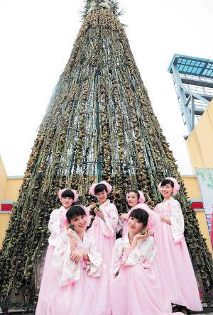 用数万个粽子搭成的高20米的粽子山在世界之窗内格外显眼。  周柏平刘贝雅摄影报道