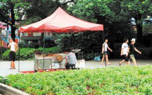 昨日,一些人在公园内违规摆设烧烤摊点,滚滚油烟熏得游客叫苦不迭,只得远远地躲着走开。  周柏平 摄
