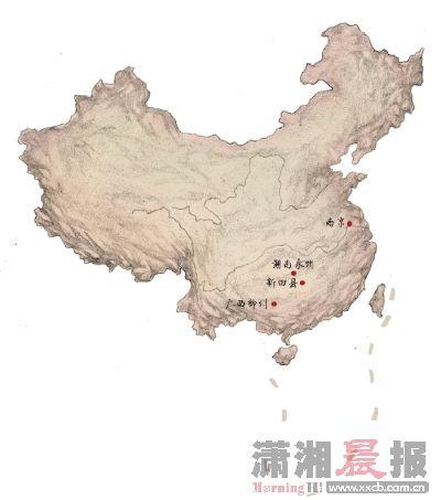 """建文帝踪迹""""永州说""""提供的建文帝迁徙路线图。"""