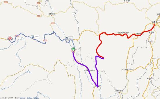 今日搭车路线(左侧蓝色路段。红色路段和紫色路段为已走过的路程)
