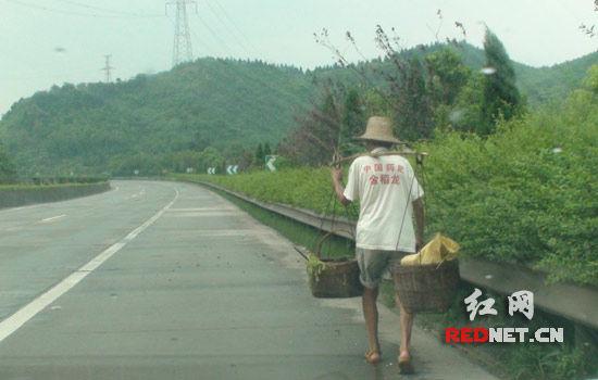 (卖黄瓜的老汉正在高速公路上行走。)