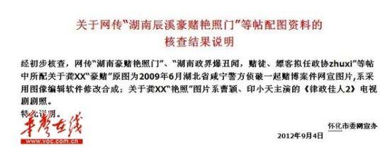 怀化市委网宣办所发调查结果说明 网络截图