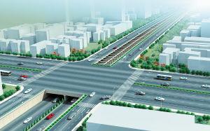 京港澳高速黎托段下沉改造后的鸟瞰效果图。 长沙轨道交通配套项目建设有限公司 供图
