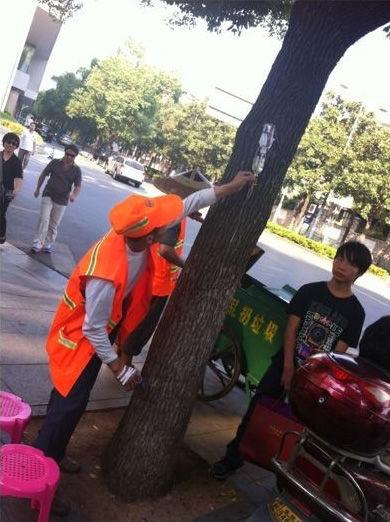 环卫工刘永亮坐在树边打点滴