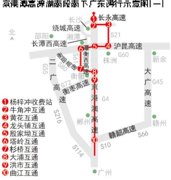 省交警总队发布京港澳高速南下广东分流图