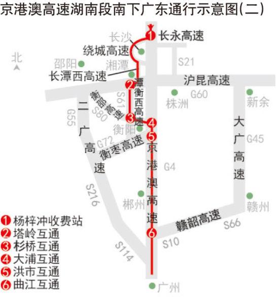 京港澳高速湖南段南下广东通行示意图(二)