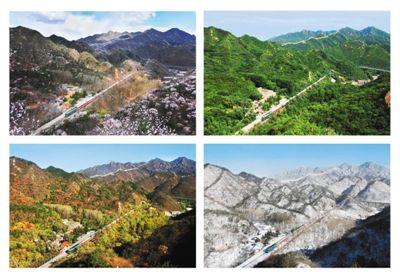 王嵬历时4年,在八达岭上同一地点,拍摄的京张铁路某段的四季不同景象。本组图片均由王嵬供图