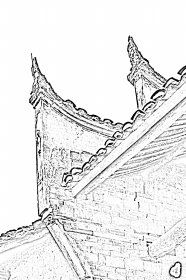 沈家大屋屋檐,这种造型在湖南非常有代表性。