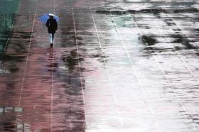 2月18日,中南大学铁道学院,一位市民在雨中散步。图/记者刘有志
