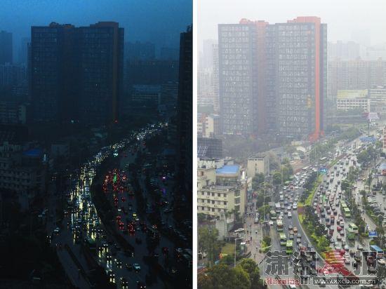 3月17日,长沙韶山南路,左图为上午10点28分,一场暴雨让白昼仿若黑夜;右图为下午2点20分,同一地点雨后的情景。图/记者华剑
