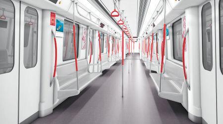 列車內飾方案三(上圖)設計靈感來源于橘子洲與湘江——柔美的座椅端板