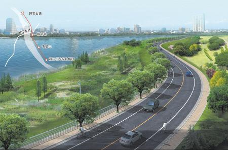 按16米双向四车道设计,沿江设置绿带走廊和景观节点.
