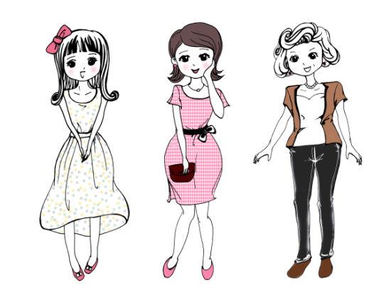 整体三个女性卡通形象组成,第一个卡通形象以苗条的身材,俏皮的表情,浅色的着装及蝴蝶结的配饰,突出其少女的定位。第二个卡通形象以娇羞的姿态,鲜艳的衣着,名贵的皮包做搭配,突出其成年女士的定位。第三个卡通形象以成熟的发型,稳重的着装突出其中年女性的定位。不同年龄段女性巧妙搭配使这个标志看着艺术优雅,易记忆,易融合,易接受,易传播。同时表达我们女性滋补食品对各个年龄段的女性都有着良好的效果。整个《花季少女、成年女士、中年妇女标识》完全体现出了产品的独创思维和风格,体现出了完整的独创性和作品的显著性。