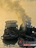 长沙废旧钢船被火烧肢解